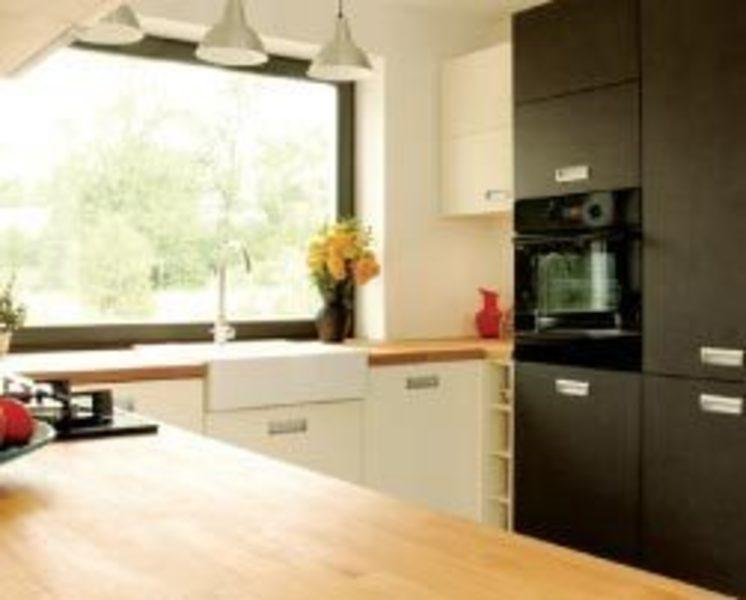 Kuchnia z drewnianym blatem  Meble kuchenne  Gabriel Meble -> Waniliowa Kuchnia Z Drewnianym Blatem